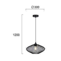 Pendant Single Light Metallic Black Ø30cm 1x E27 40W ELECTRA - VIOKEF