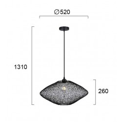 Pendant Single Light Metallic Black Ø52cm 1x E27 40W ELECTRA - VIOKEF