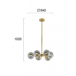 Pendant Multi Lights Metal And Glass In Gold Color 6x G9 40W FIORE - VIOKEF