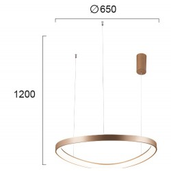 LED Round Pendant Lighting In Gold Color Ø65cm 48W LOOP VIOKEF