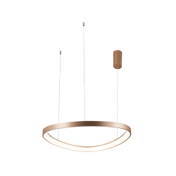 LED Round Pendant Lighting In Gold Color Ø65cm 48W LOOP VIOKEF