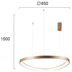 LED Round Pendant Lighting In Gold Color Ø85cm 60W LOOP VIOKEF