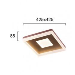 LED Πλαφονιέρα Μεταλλική Καφέ Τετράγωνη 42x42cm 43W MADLIN - Viokef