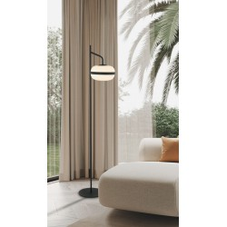 Floor Lamp Black Metallic With Opal Glass 1xE27 PALMA - Viokef