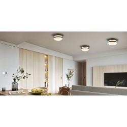 Ceiling Light Black Metallic With Opal Glass 1xE27 PALMA - Viokef