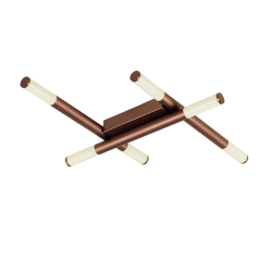 LED Πλαφονιέρα Καφέ Μεταλλική Εξάφωτη 18W TRONCO- Viokef