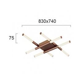 LED Πλαφονιέρα Καφέ Μεταλλική Οκτάφωτη 48W TRONCO- Viokef