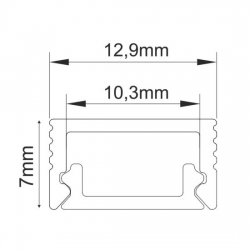 Ultra Mini Προφίλ Επιτοίχιο Με Πολυκαρβονικό Ημιδιαφανές Κάλυμμα Aca