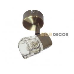 Μεταλλικό Μπρονζέ Σπότ 1xG9 Με Διάφανο Υψηλής Καθαρότητας Γυαλί Και Με Δυνατότητα Περιστροφής