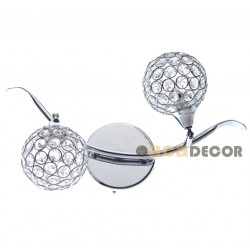 Chrome Metallic Wall Lighting Fixture with Sphere Shape crystals