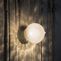 Επίτοιχο Φωτιστικό Σε Μπρονζέ Με Διάφανο Ανάγλυφο Γυαλί Διαχύτη IP20 1xE27