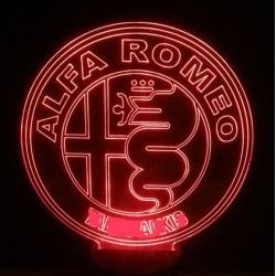 LED Φωτιστικό Χαραγμένο Plexiglass Με Σχέδιο Auto Alfa Romeo Με Διακόπτη ON/OFF AlphaLed
