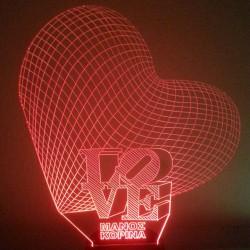 LED Φωτιστικό Χαραγμένο Plexiglass Με Σχέδιο 3D Καρδιές Με Διακόπτη ON/OFF AlphaLed
