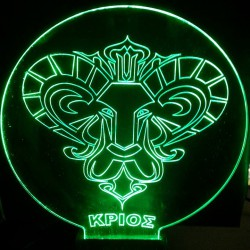 LED Lighting Fixture Engraved Plexiglass With Aries Design And Switch ON/OFF AlphaLed