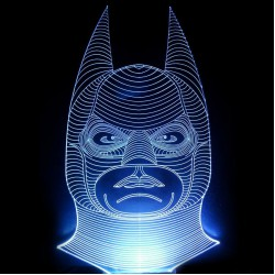 LED Lighting Fixture Engraved Plexiglass With Batman Design And Switch ON/OFF AlphaLed