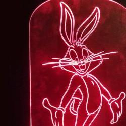 LED Φωτιστικό Χαραγμένο Plexiglass Με Σχέδιο Bugs Bunny Με Διακόπτη ON/OFF AlphaLed