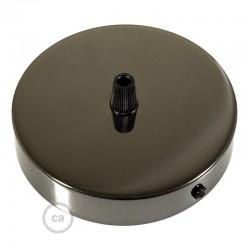 Ροζέτα Πλακέ Μεταλλική Με 1 Τρύπα Και 1 Στηρίγμα Καλωδίου 120mm - Ανθρακί