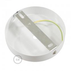 Ροζέτα Πλακέ Μεταλλική Με 1 Τρύπα Και 1 Στηρίγμα Καλωδίου 120mm - Λευκή