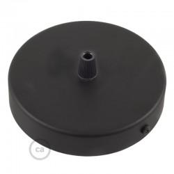 Ροζέτα Πλακέ Μεταλλική Με 1 Τρύπα Και 1 Στηρίγμα Καλωδίου 120mm - Μαύρο