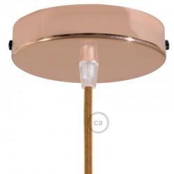 Ροζέτα Πλακέ Μεταλλική Με 1 Τρύπα Και 1 Στηρίγμα Καλωδίου 120mm - Χαλκού (Ροζ- Χρυσό)