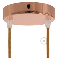 Ροζέτα Πλακέ Μεταλλική Με 2 Τρύπες Και 2 Στηρίγματα Καλωδίου 120mm - Χαλκό (Ροζ-Χρυσό)