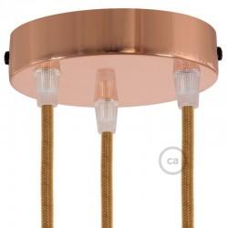Ροζέτα Πλακέ Μεταλλική Με 3 Τρύπες Και 3 Στηρίγματα Καλωδίου 120mm - Χαλκό (Ροζ-Χρυσό)