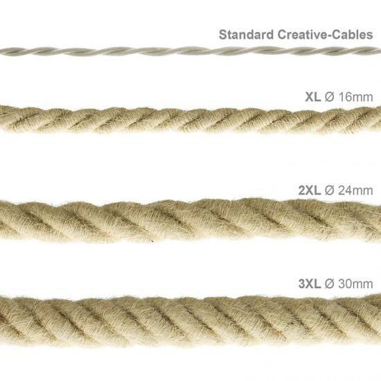 Καλώδιο Σχοινί Φ16 - Τριχιά XL, Καλώδιο 3x0,75 Καλυμμένο Με Ύφασμα και Φυσική Τριχιά