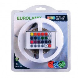Ετοιμο Πακέτο LED Ταινία 7.2W 3/μέτρα Με Driver Και Control 12V RGB IP20 Blister Eurolamp