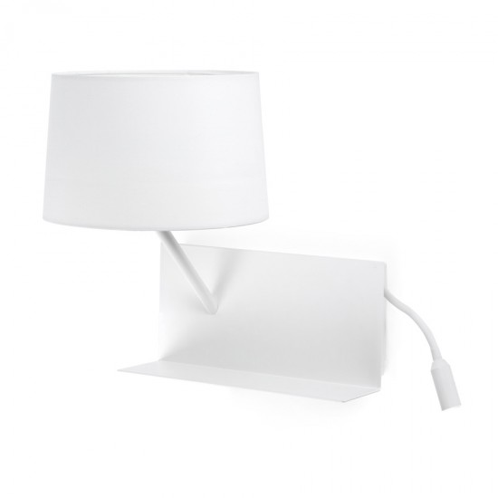 Metallic Sconce Lamp With Textile Lampshade And Shelf + USB Charger + LED (Left Side) 1XE27 HANDY FARO