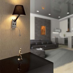 Metallic Wall Lamp With Textile Shade In Two Colors + LED 1xE27 MOMA FARO