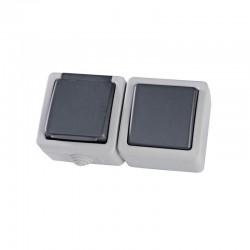 Switch A/R + Electrical Socket Souk Grey 3840W IP54 Eurolamp