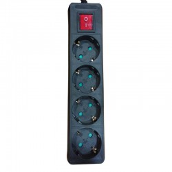 Multi Electrical Socket 4 Socket WIth Cable 2m And Switch In Black Eurolamp