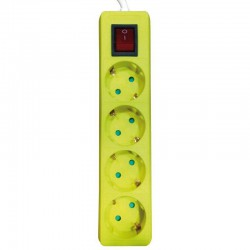 Multi Electrical Socket 4 Socket WIth Cable 2m And Switch In Yellow Eurolamp