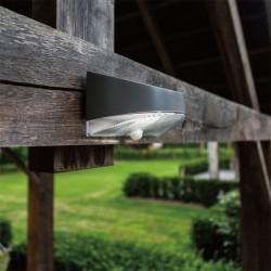 LED Ηλιακό Επιτοίχιο Φωτιστικό 1.2W Σε Ασημί Χρώμα Με Αισθητήρα Κίνησης IP44 BREAD LUTEC