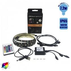 Πλήρες Κιτ Κρυφού Φωτισμού RGB Με USB Για Τηλεοράσεις Και Τηλεχειριστήριο Globo Star