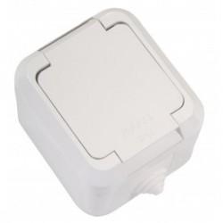 Εξωτερική Πρίζα Σούκο Με Καπάκι Επιφανείας Σε Λευκό 240V/16W IP44 Makel