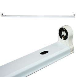 Single Slim Fixture T8 for Led Tube Metalic 120cm White ACA