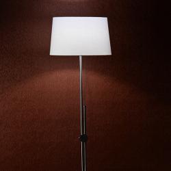 Μεταλλικό Επιδαπέδιο Φωτιστικό Με Λευκό Υφασμάτινο Καπέλο Σε Νίκελ 1xΕ27 ACA