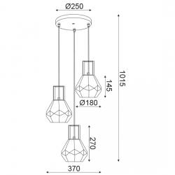 Γυάλινο Φωτιστικό Οροφής Πολυγωνικό 3xE27 Aca