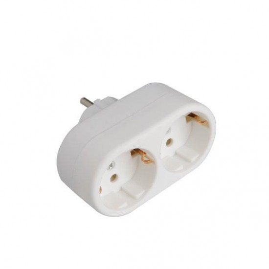 Adaptor From Schuko To 2 Schuco White Eurolamp