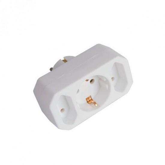 Adaptor From Schuko To 1 Schuco & 2 Normal White Eurolamp