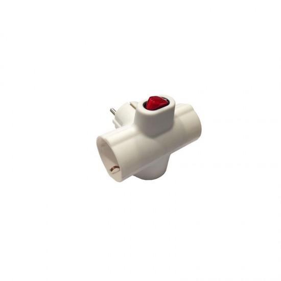 Adaptor Schuko To 3 Schuko Cross Horizontal With Switch White Eurolamp