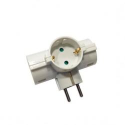 Adaptor Schuko To 3 Schuko Cross Horizontal White Eurolamp