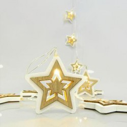 10 Warm White LED Battery Light With Wooden Stars White - Brown Per 15cm Magic Christmas