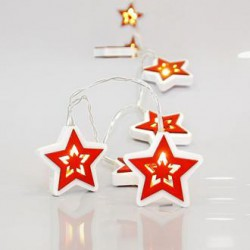 10 Warm White LED Battery Light With Wooden Stars White - Red Per 15cm Magic Christmas