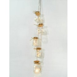 5 Διακοσμητικά Βαζάκια 15 LED Θέρμο Λευκό Magic Christmas