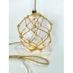 Διακοσμητική Γυάλινη Μπάλα Με Τριχιά 10 LED Θέρμο Λευκό Ø15 Magic Christmas