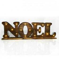 """Ξύλινη Φωτιζόμενη Επιγραφή """"Noel"""" Με 17 LED Θέρμο Λευκό 71x10x22 Magic Christmas"""