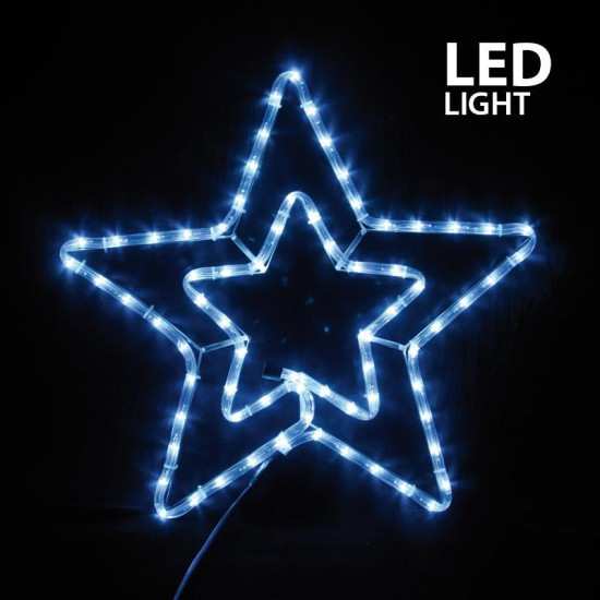 LED Rope Light Double Star With Multifunctions IP44 White Magic Christmas