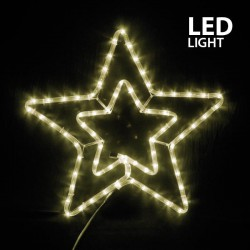 LED Rope Light Double Star With Multifunctions IP44 Warm White Magic Christmas